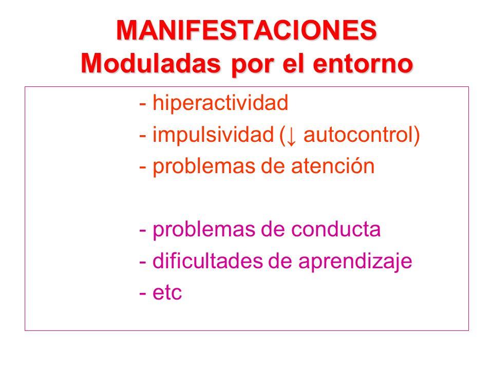 MANIFESTACIONES Moduladas por el entorno - hiperactividad - impulsividad ( autocontrol) - problemas de atención - problemas de conducta - dificultades