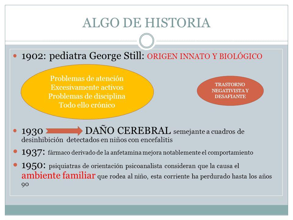 ALGO DE HISTORIA 1902: pediatra George Still: ORIGEN INNATO Y BIOLÓGICO 1930 DAÑO CEREBRAL semejante a cuadros de desinhibición detectados en niños co
