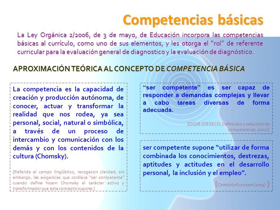 Competencias básicas La Ley Orgánica 2/2006, de 3 de mayo, de Educación incorpora las competencias básicas al currículo, como uno de sus elementos, y