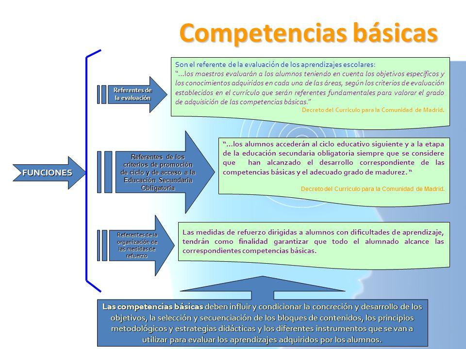 Competencias básicas FUNCIONES Son el referente de la evaluación de los aprendizajes escolares: …los maestros evaluarán a los alumnos teniendo en cuen