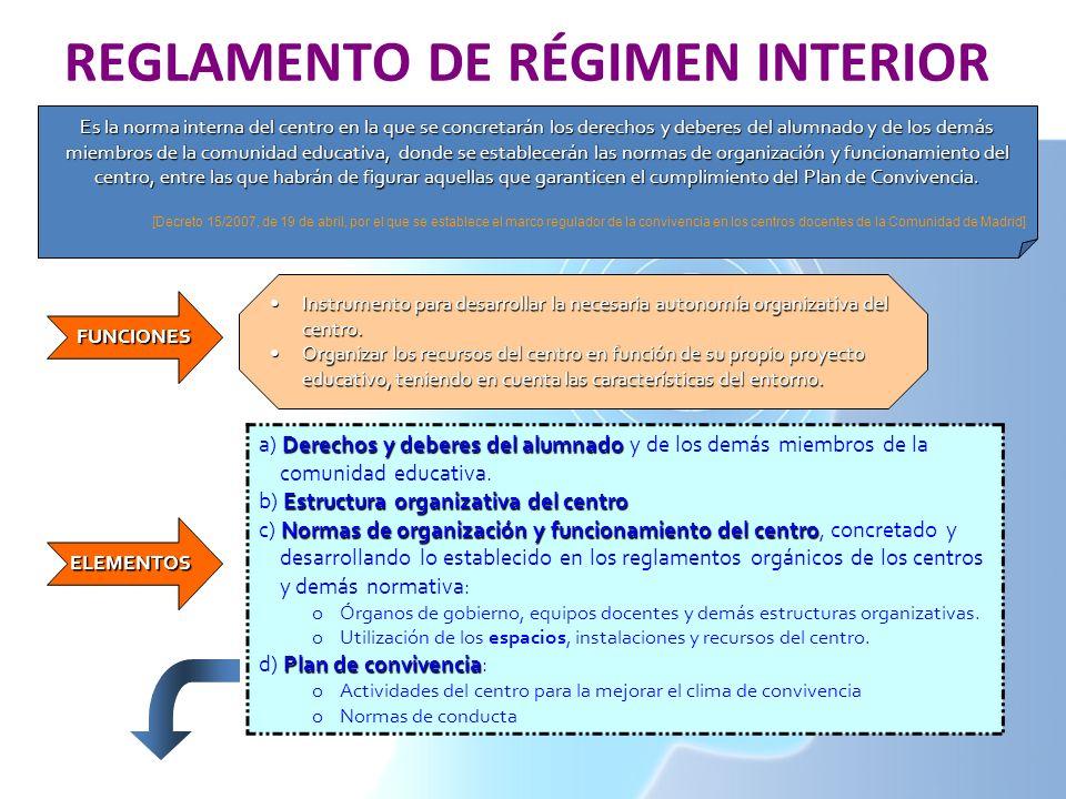 REGLAMENTO DE RÉGIMEN INTERIOR Es la norma interna del centro en la que se concretarán los derechos y deberes del alumnado y de los demás miembros de