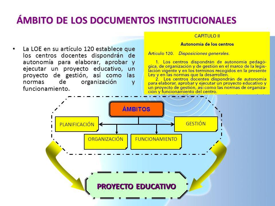 ÁMBITO DE LOS DOCUMENTOS INSTITUCIONALES La LOE en su artículo 120 establece que los centros docentes dispondrán de autonomía para elaborar, aprobar y