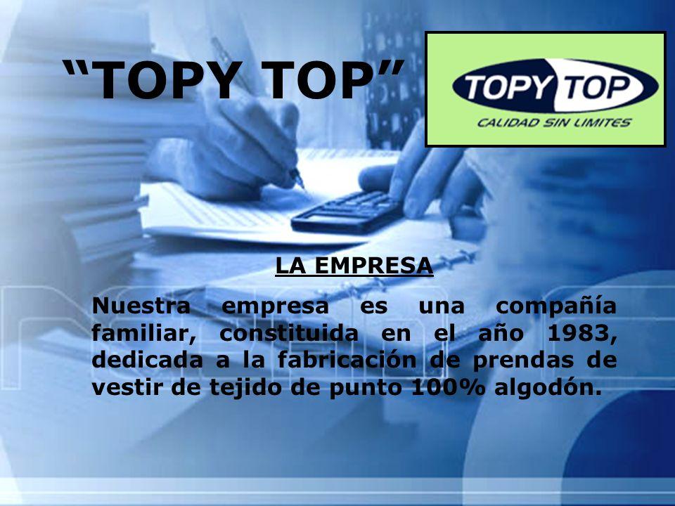 TOPY TOP LA EMPRESA Nuestra empresa es una compañía familiar, constituida en el año 1983, dedicada a la fabricación de prendas de vestir de tejido de