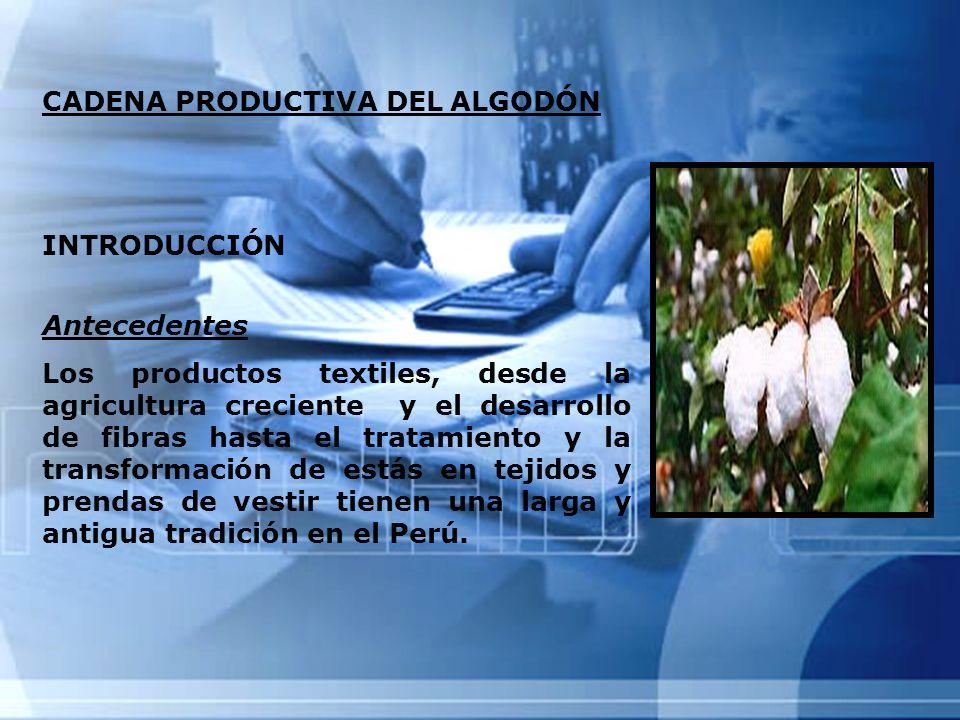 CADENA PRODUCTIVA DEL ALGODÓN INTRODUCCIÓN Antecedentes Los productos textiles, desde la agricultura creciente y el desarrollo de fibras hasta el trat