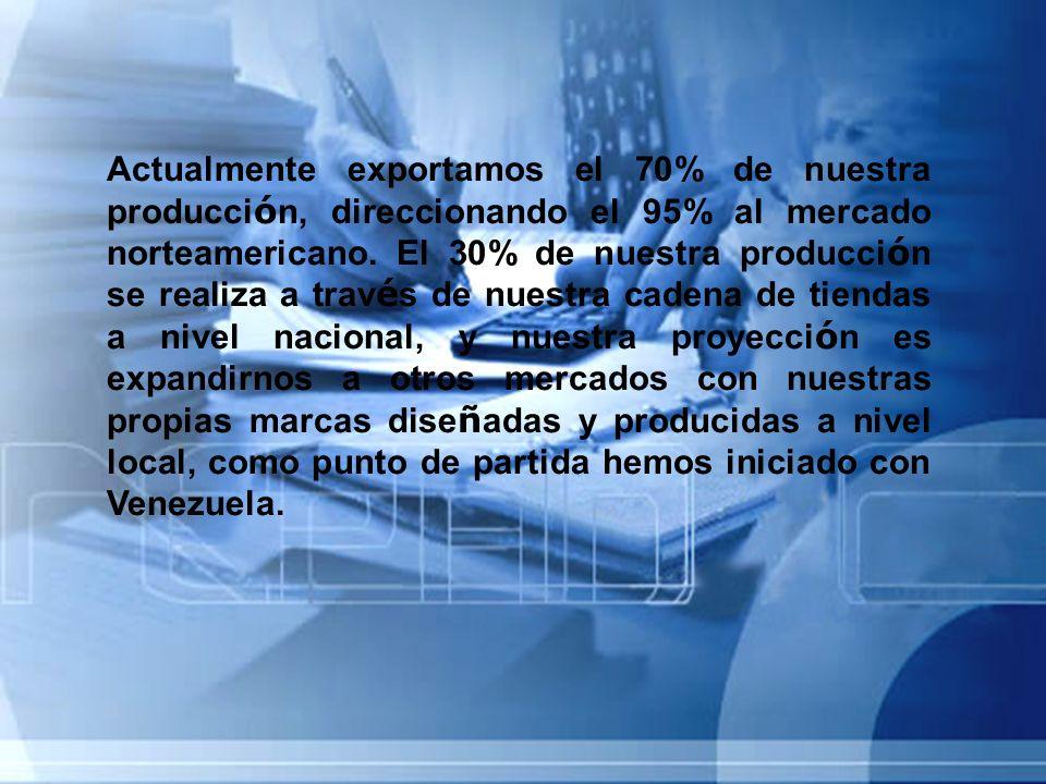Actualmente exportamos el 70% de nuestra producci ó n, direccionando el 95% al mercado norteamericano. El 30% de nuestra producci ó n se realiza a tra