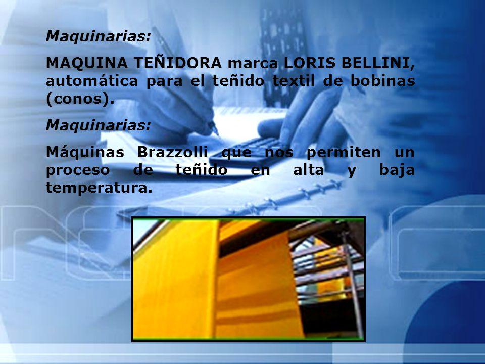 Maquinarias: MAQUINA TEÑIDORA marca LORIS BELLINI, automática para el teñido textil de bobinas (conos). Maquinarias: Máquinas Brazzolli que nos permit