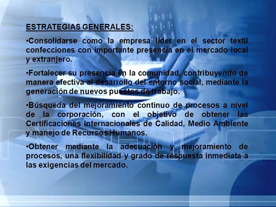 ESTRATEGIAS GENERALES: Consolidarse como la empresa líder en el sector textil confecciones con importante presencia en el mercado local y extranjero.
