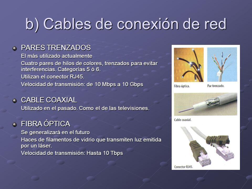 b) Cables de conexión de red PARES TRENZADOS El más utilizado actualmente El más utilizado actualmente Cuatro pares de hilos de colores, trenzados para evitar interferencias.