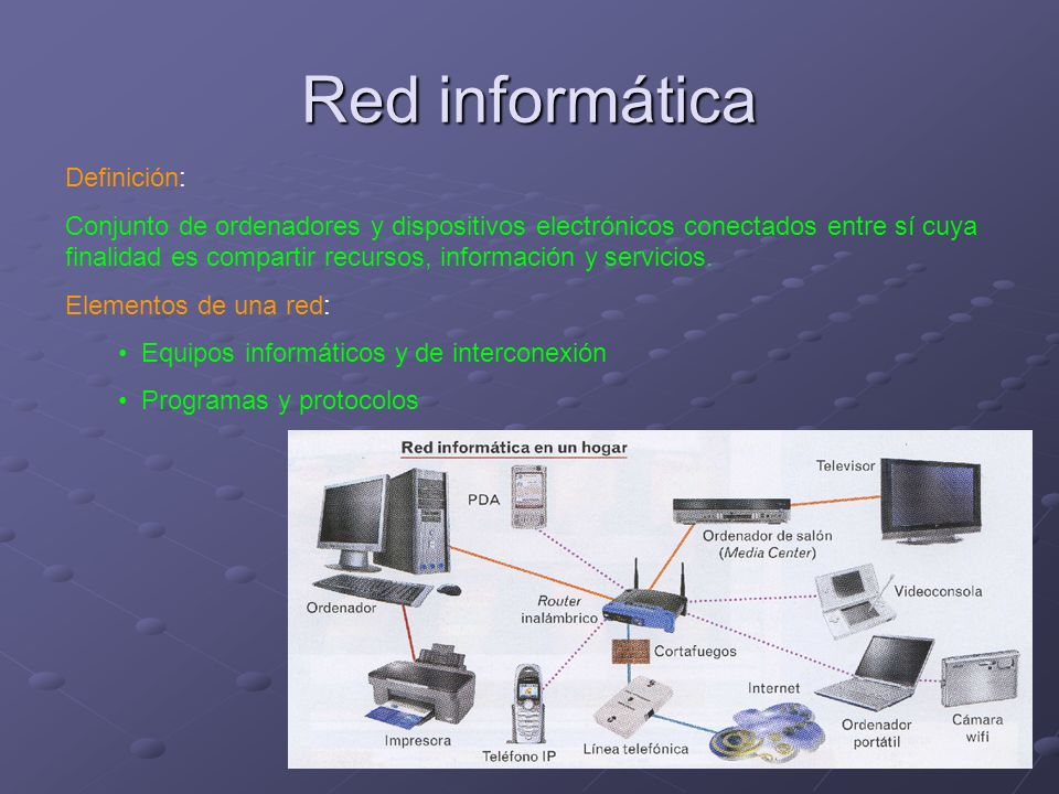 Red informática Definición: Conjunto de ordenadores y dispositivos electrónicos conectados entre sí cuya finalidad es compartir recursos, información y servicios.
