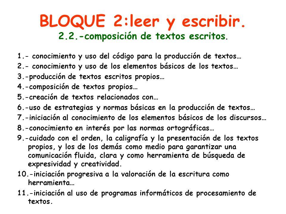 BLOQUE 2:leer y escribir. 2.2.-composición de textos escritos. 1.- conocimiento y uso del código para la producción de textos… 2.- conocimiento y uso