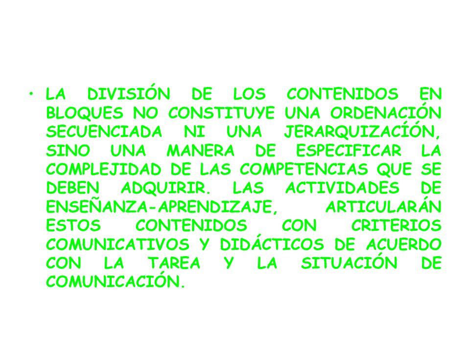 LA DIVISIÓN DE LOS CONTENIDOS EN BLOQUES NO CONSTITUYE UNA ORDENACIÓN SECUENCIADA NI UNA JERARQUIZACÍÓN, SINO UNA MANERA DE ESPECIFICAR LA COMPLEJIDAD