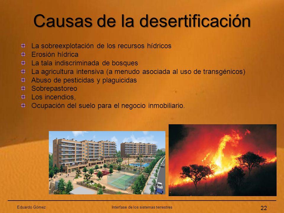 Causas de la desertificación Eduardo GómezInterfase de los sistemas terrestres 22 La sobreexplotación de los recursos hídricos Erosión hídrica La tala