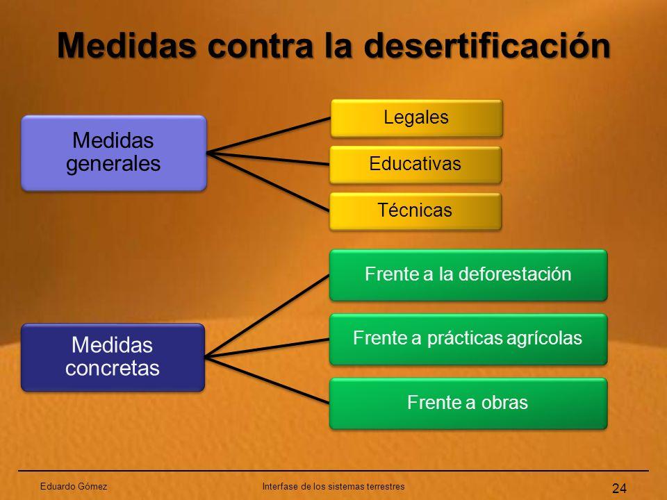 Medidas contra la desertificación Eduardo GómezInterfase de los sistemas terrestres 24 Medidas generales LegalesEducativasTécnicas Medidas concretas F