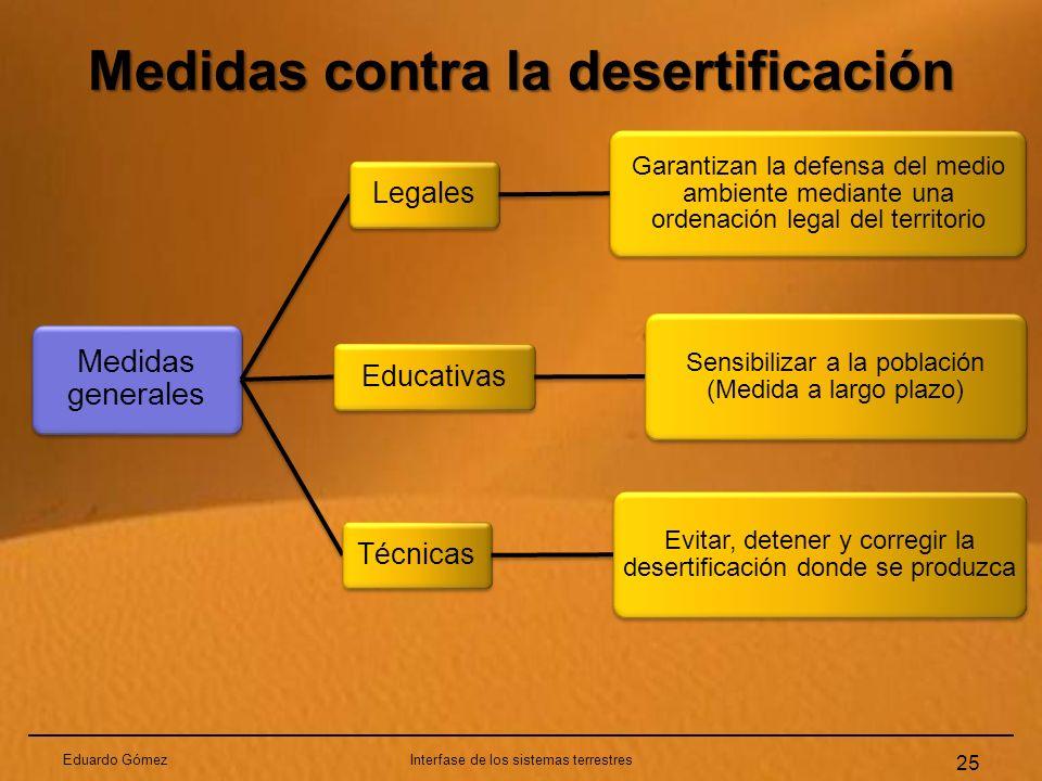 Medidas contra la desertificación Eduardo GómezInterfase de los sistemas terrestres 25 Medidas generales Legales Garantizan la defensa del medio ambie