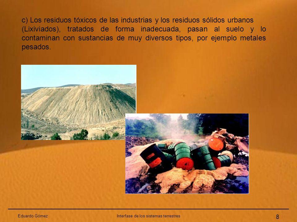 Eduardo GómezInterfase de los sistemas terrestres 8 c) Los residuos tóxicos de las industrias y los residuos sólidos urbanos (Lixiviados), tratados de