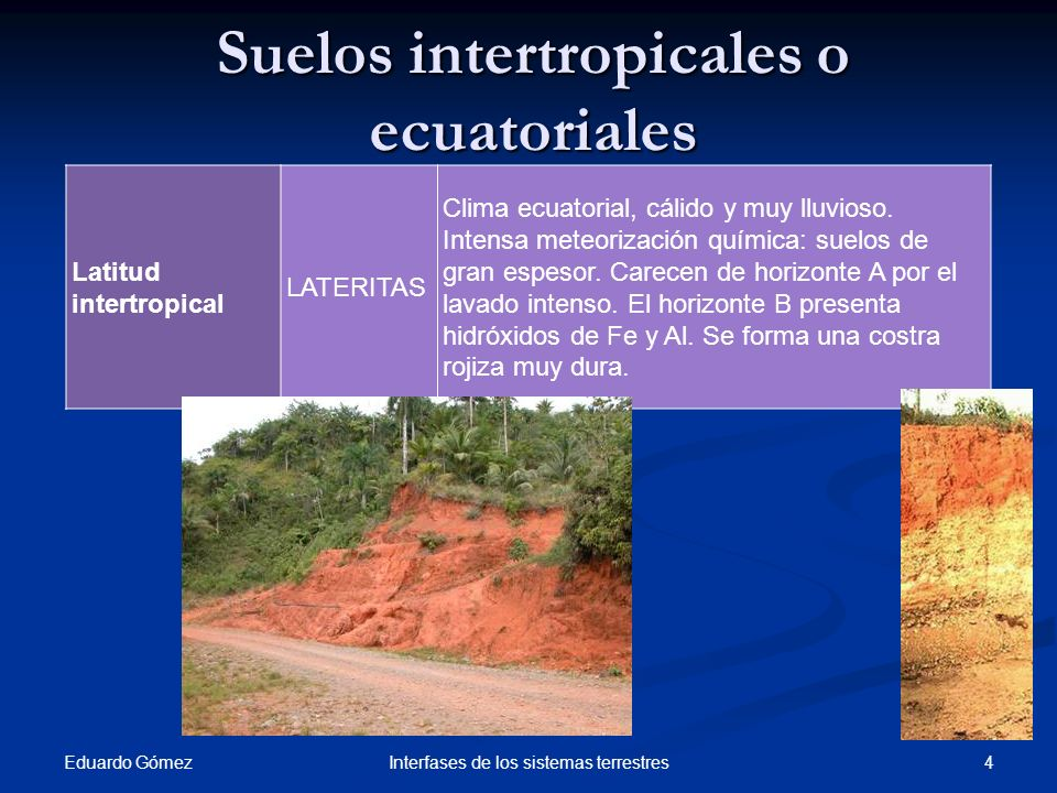 Suelos intertropicales o ecuatoriales Eduardo Gómez 4Interfases de los sistemas terrestres Latitud intertropical LATERITAS Clima ecuatorial, cálido y