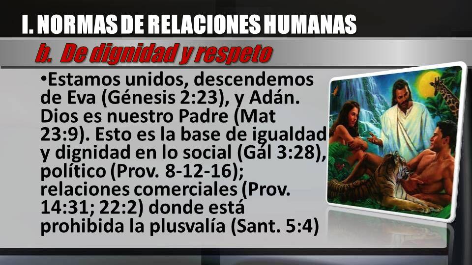 Estamos unidos, descendemos de Eva (Génesis 2:23), y Adán. Dios es nuestro Padre (Mat 23:9). Esto es la base de igualdad y dignidad en lo social (Gál