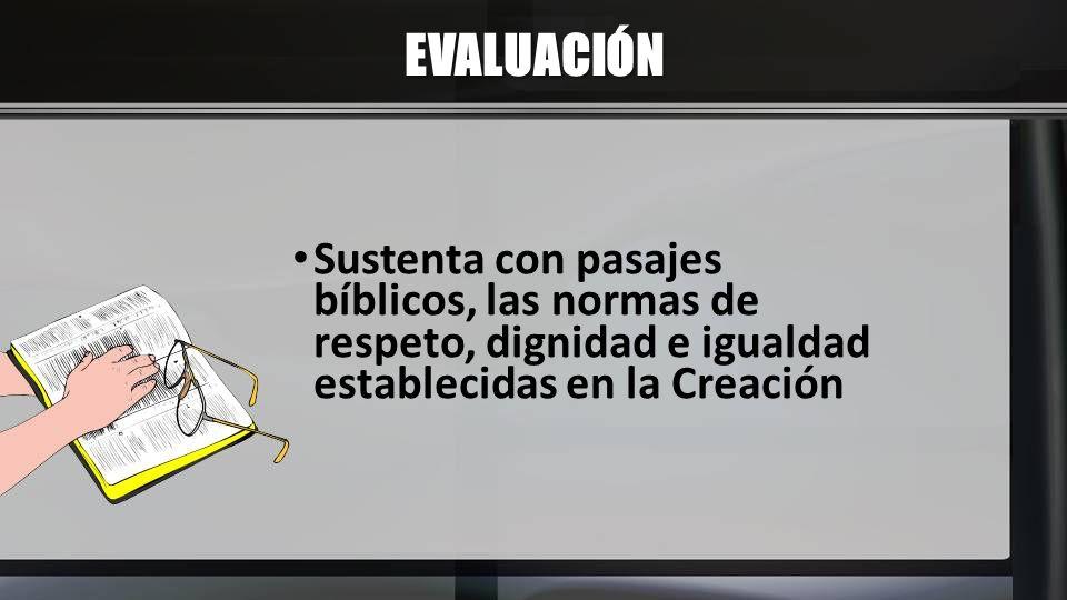 EVALUACIÓN Sustenta con pasajes bíblicos, las normas de respeto, dignidad e igualdad establecidas en la Creación
