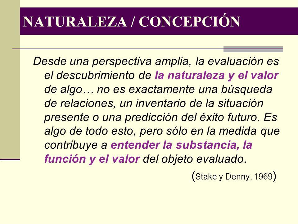NATURALEZA / CONCEPCIÓN Desde una perspectiva amplia, la evaluación es el descubrimiento de la naturaleza y el valor de algo… no es exactamente una bú