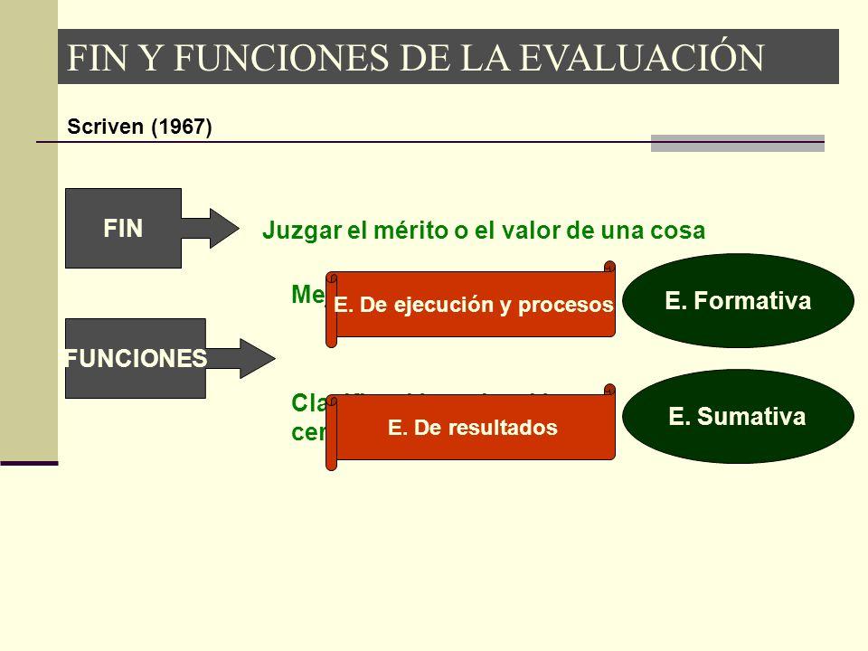 FIN Y FUNCIONES DE LA EVALUACIÓN Scriven (1967) FIN Juzgar el mérito o el valor de una cosa FUNCIONES Mejora del objeto evaluado E. Formativa Clasific