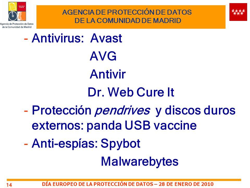DÍA EUROPEO DE LA PROTECCIÓN DE DATOS – 28 DE ENERO DE 2010 14 AGENCIA DE PROTECCIÓN DE DATOS DE LA COMUNIDAD DE MADRID -Antivirus: Avast AVG Antivir Dr.