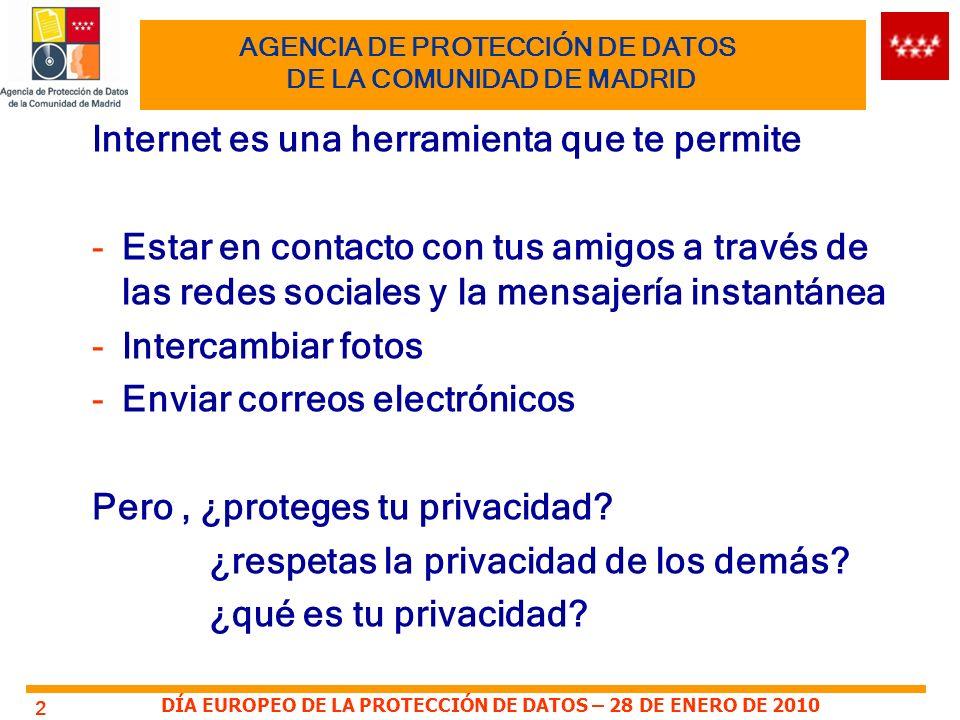 DÍA EUROPEO DE LA PROTECCIÓN DE DATOS – 28 DE ENERO DE 2010 3 AGENCIA DE PROTECCIÓN DE DATOS DE LA COMUNIDAD DE MADRID Tu nombre, apellidos, número del documento nacional de identidad, fotografía, correo electrónico, número de móvil forman parte de tu privacidad y seguramente los vas a utilizar en las redes sociales, al darte de alta en cualquier página de Internet, en chats, foros o mensajería instantánea