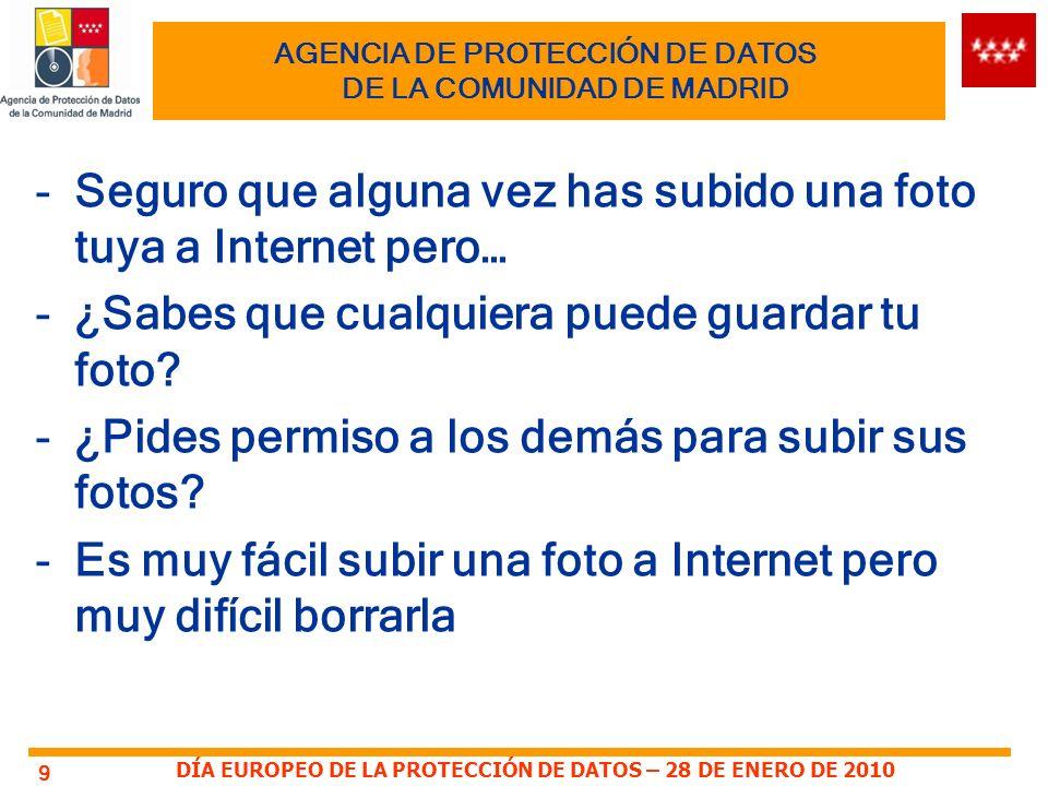 AGENCIA DE PROTECCIÓN DE DATOS DE LA COMUNIDAD DE MADRID -Seguro que alguna vez has subido una foto tuya a Internet pero… -¿Sabes que cualquiera puede guardar tu foto.
