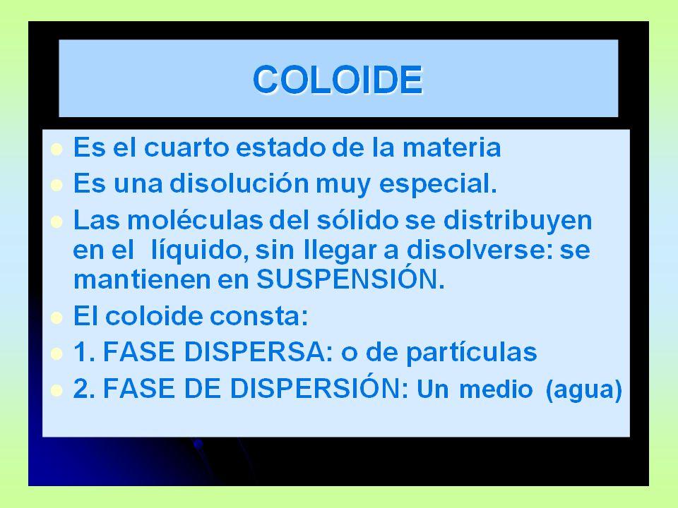 ESTADOS COLOIDALES ESTADO SOL: PredominaESTADO GEL: Predomina la fase dispersante.