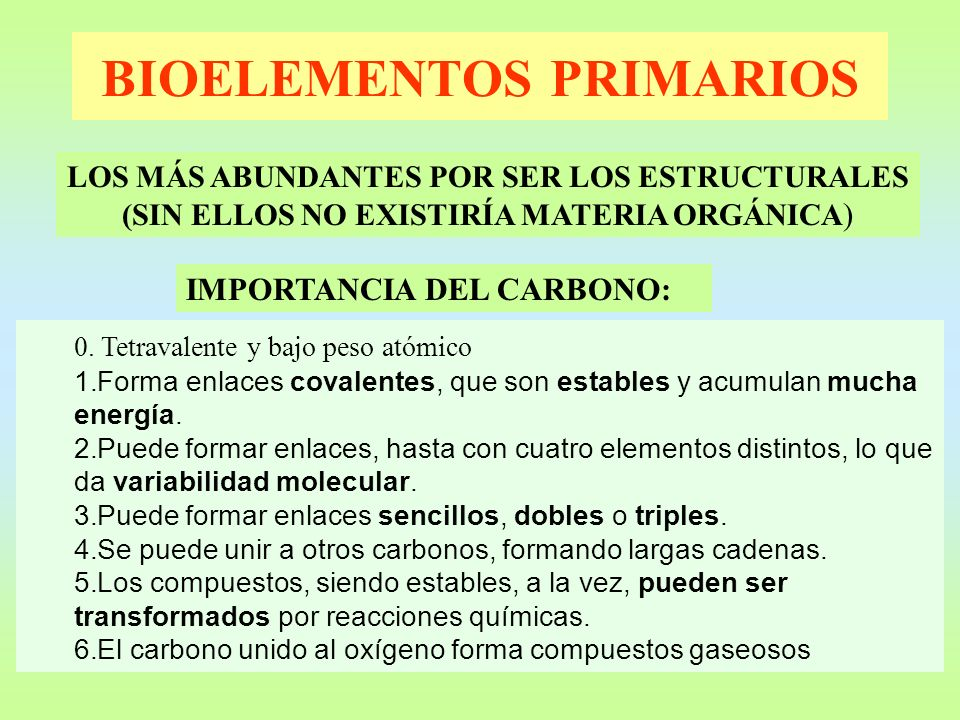 BIOELEMENTOS PRIMARIOS LOS MÁS ABUNDANTES POR SER LOS ESTRUCTURALES (SIN ELLOS NO EXISTIRÍA MATERIA ORGÁNICA ) IMPORTANCIA DEL CARBONO: 0. Tetravalent