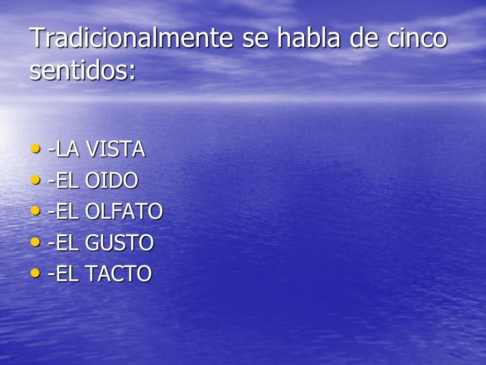 Tradicionalmente se habla de cinco sentidos: -LA VISTA -LA VISTA -EL OIDO -EL OIDO -EL OLFATO -EL OLFATO -EL GUSTO -EL GUSTO -EL TACTO -EL TACTO