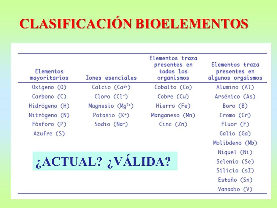 CLASIFICACIÓN BIOELEMENTOS ¿ACTUAL? ¿VÁLIDA?