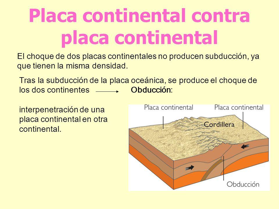 Placa continental contra placa continental El choque de dos placas continentales no producen subducción, ya que tienen la misma densidad. Tras la subd