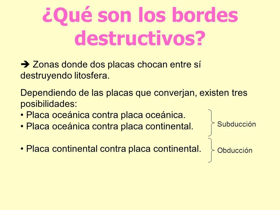 ¿Qué son los bordes destructivos? Zonas donde dos placas chocan entre sí destruyendo litosfera. Dependiendo de las placas que converjan, existen tres