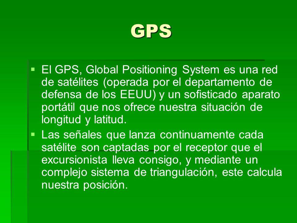 GPS El GPS, Global Positioning System es una red de satélites (operada por el departamento de defensa de los EEUU) y un sofisticado aparato portátil q