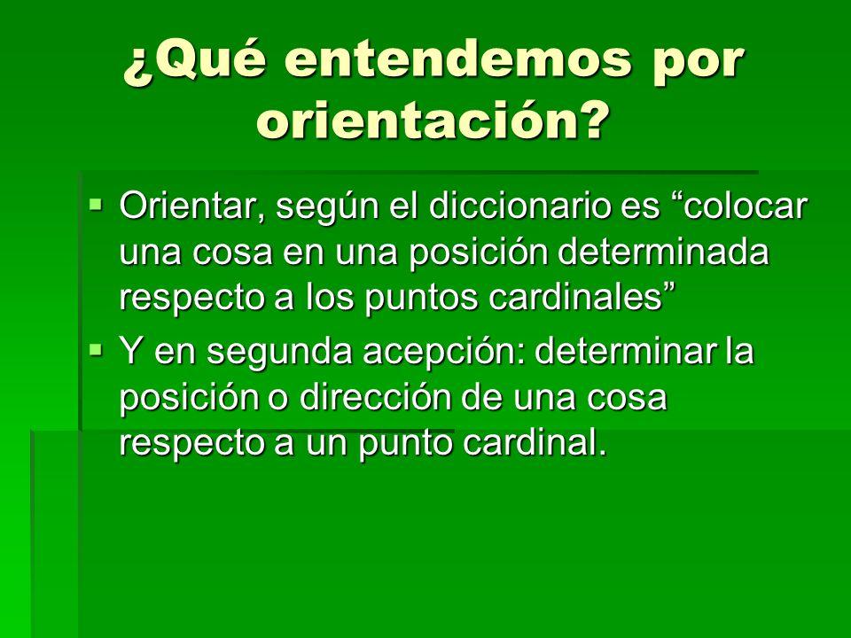 ¿Qué entendemos por orientación? Orientar, según el diccionario es colocar una cosa en una posición determinada respecto a los puntos cardinales Y en