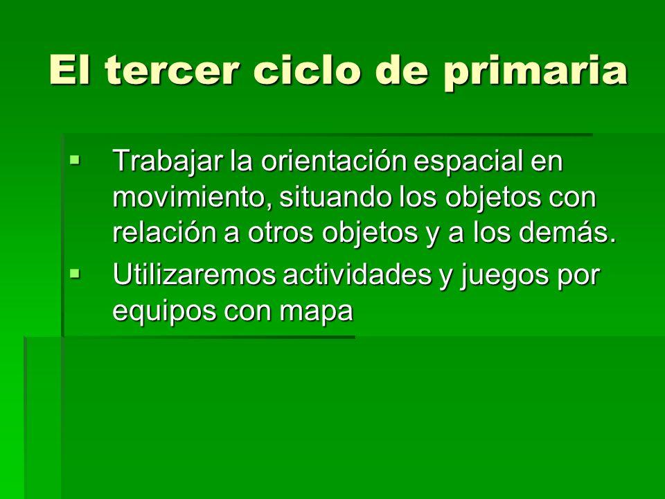 El tercer ciclo de primaria Trabajar la orientación espacial en movimiento, situando los objetos con relación a otros objetos y a los demás. Trabajar
