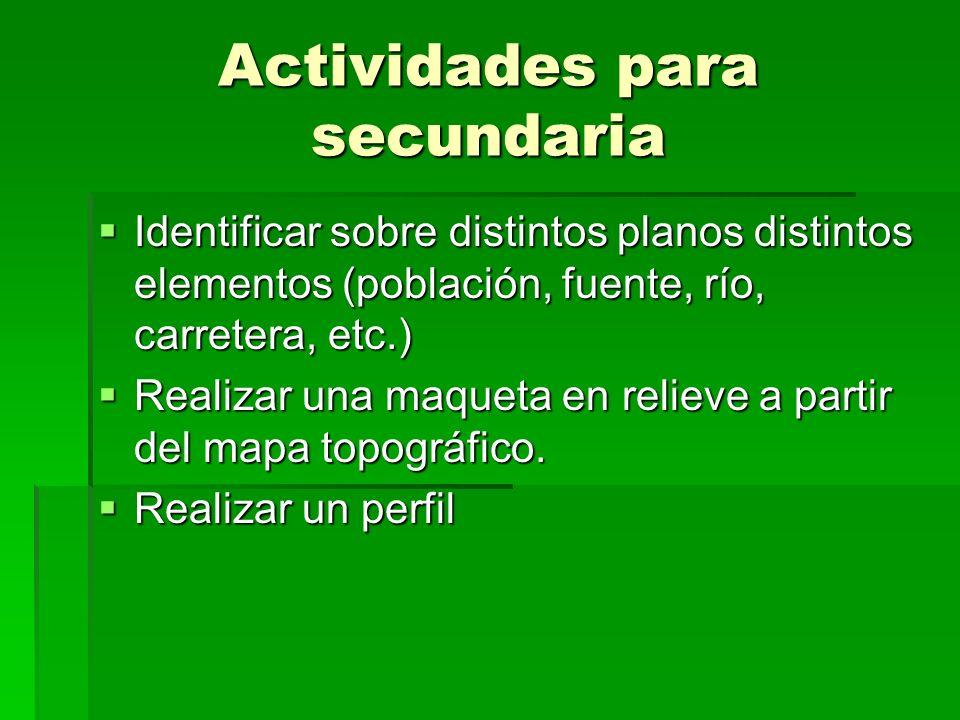 Actividades para secundaria Identificar sobre distintos planos distintos elementos (población, fuente, río, carretera, etc.) Identificar sobre distint