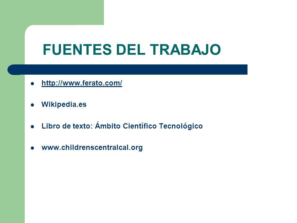 FUENTES DEL TRABAJO http://www.ferato.com/ Wikipedia.es Libro de texto: Ámbito Científico Tecnológico www.childrenscentralcal.org