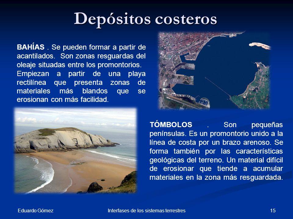 Depósitos costeros Eduardo Gómez 15Interfases de los sistemas terrestres TÓMBOLOS. Son pequeñas penínsulas. Es un promontorio unido a la línea de cost