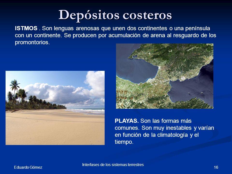 Depósitos costeros Eduardo Gómez 16 Interfases de los sistemas terrestres ISTMOS. Son lenguas arenosas que unen dos continentes o una península con un