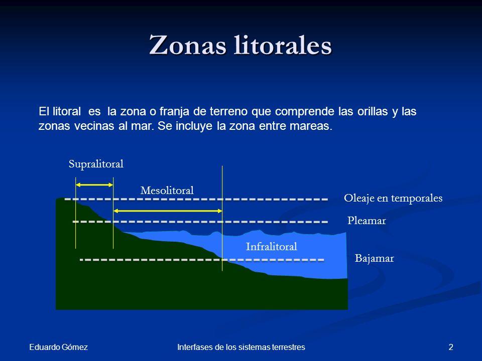 Eduardo Gómez 2Interfases de los sistemas terrestres Zonas litorales El litoral es la zona o franja de terreno que comprende las orillas y las zonas v