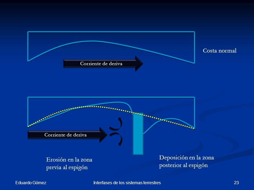 Eduardo Gómez 23Interfases de los sistemas terrestres Costa normal Erosión en la zona previa al espigón Deposición en la zona posterior al espigón Cor