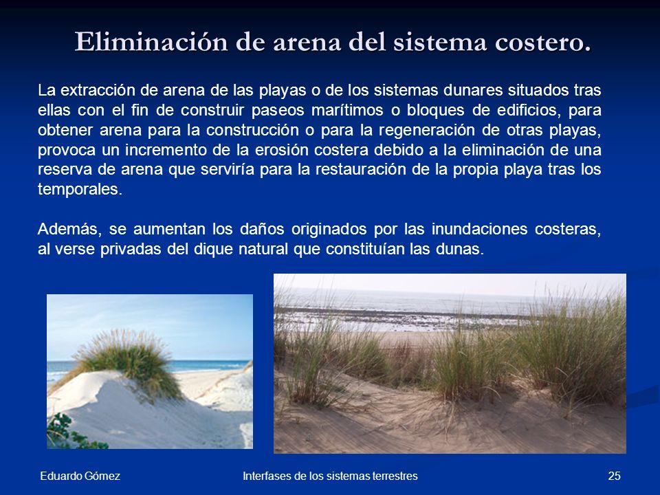Eliminación de arena del sistema costero. Eduardo Gómez 25Interfases de los sistemas terrestres La extracción de arena de las playas o de los sistemas