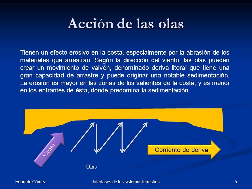 Regeneración de playas Eduardo Gómez 26Interfases de los sistemas terrestres Se utiliza arena del fondo del mar o de desembocaduras de ríos.
