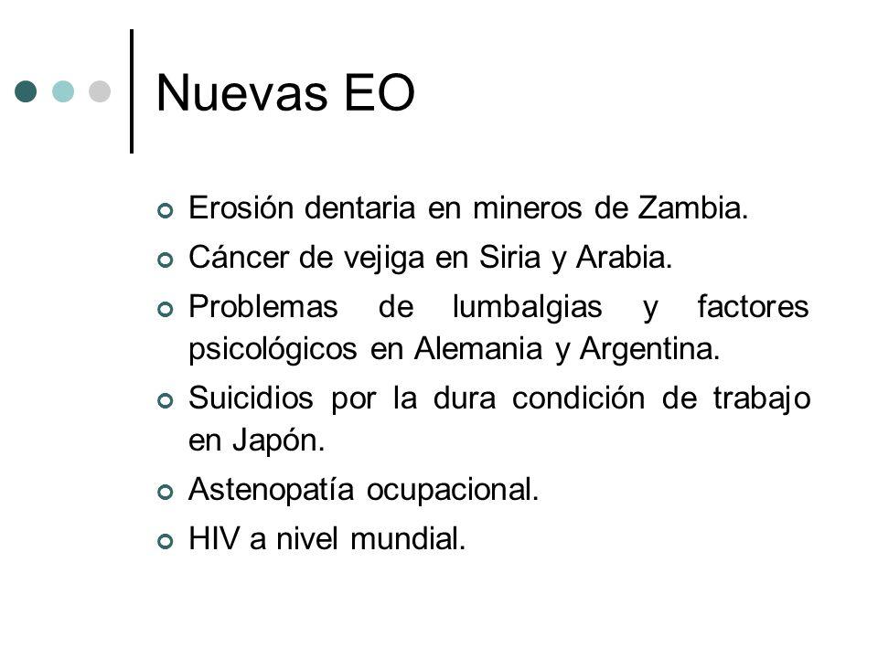 Nuevas EO Erosión dentaria en mineros de Zambia. Cáncer de vejiga en Siria y Arabia. Problemas de lumbalgias y factores psicológicos en Alemania y Arg