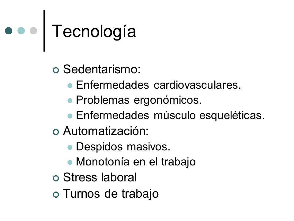 Tecnología Sedentarismo: Enfermedades cardiovasculares. Problemas ergonómicos. Enfermedades músculo esqueléticas. Automatización: Despidos masivos. Mo