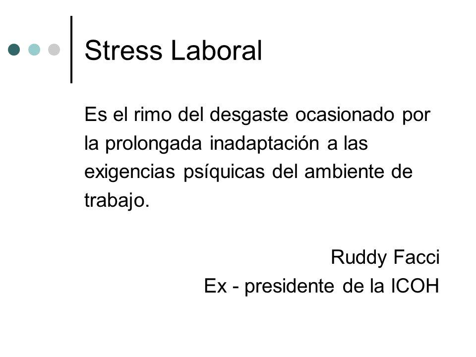 Stress Laboral Es el rimo del desgaste ocasionado por la prolongada inadaptación a las exigencias psíquicas del ambiente de trabajo. Ruddy Facci Ex -
