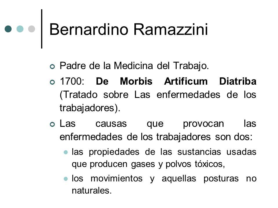 Bernardino Ramazzini Padre de la Medicina del Trabajo. 1700: De Morbis Artificum Diatriba (Tratado sobre Las enfermedades de los trabajadores). Las ca