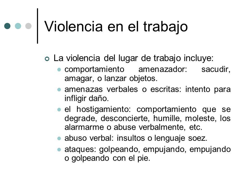 Violencia en el trabajo La violencia del lugar de trabajo incluye: comportamiento amenazador: sacudir, amagar, o lanzar objetos. amenazas verbales o e