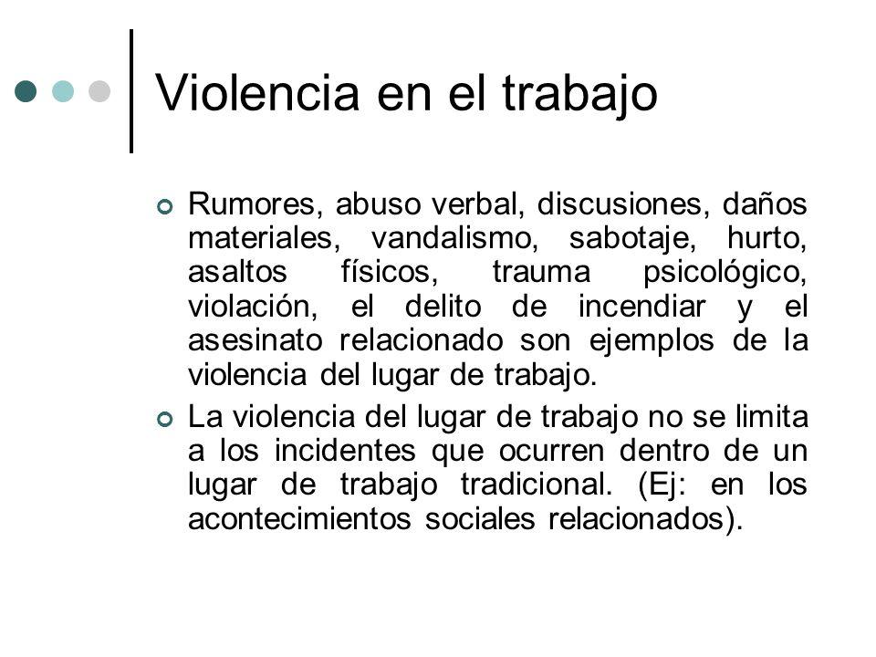 Violencia en el trabajo Rumores, abuso verbal, discusiones, daños materiales, vandalismo, sabotaje, hurto, asaltos físicos, trauma psicológico, violac